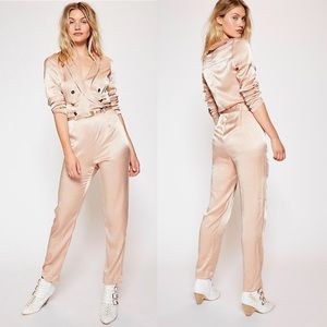 Free People• I Am A Woman Satin Jumpsuit Tan NWOT